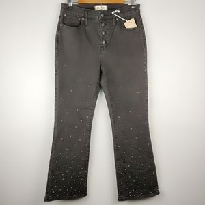 Madewell Cali Demi-Boot Buttonfly Silver Dot Jeans